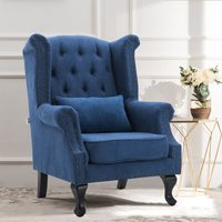 Chesterfield Queen High Back Chair With Cushion, Blue -