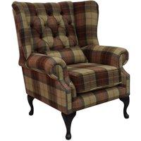 Designer Sofas 4 U - Chesterfield Regent Wool Tweed Wing Chair Fireside High Back Armchair Wool Plaid Rosehip Wine