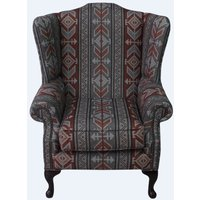 Chesterfield Saxon Mallory High Back Wing Chair Tribal Boho Bohemian Fabric