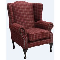 Designer Sofas 4 U - Chesterfield Saxon Mallory Wool Wing Chair Fireside High Back Armchair Balmoral Claret Check Tweed