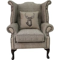 Designer Sofas 4 U - Chesterfield Saxon Queen Anne High Back Wing Chair Antler Stag Chocolate Brown Fabric