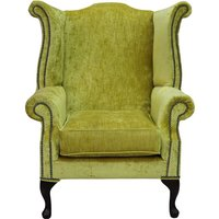 Chesterfield Saxon Queen Anne High Back Wing Chair Modena Mustard Velvet