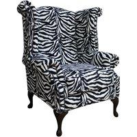 Designer Sofas 4 U - Chesterfield Saxon Queen Anne High Back Wing Chair Zebra Animal Print