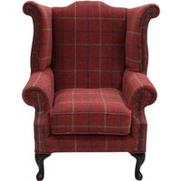 Chesterfield Saxon Queen Anne Wing Chair High Back Armchair Lana Square Check Terracotta Fabric