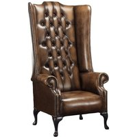 Chesterfield Soho 1780s Leather High Back Wing Chair Antique Autumn Tan