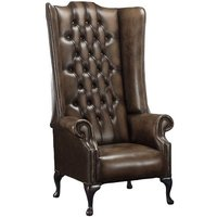 Chesterfield Soho 1780s Leather High Back Wing Chair Antique Brown - DESIGNER SOFAS 4 U