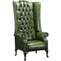 Designer Sofas 4 U - Chesterfield Soho 1780s Leather High Back Wing Chair Antique Green