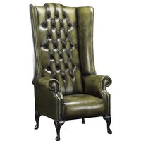 Chesterfield Soho 1780s Leather High Back Wing Chair Antique Olive