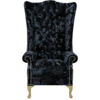 Chesterfield Soho Crystal Diamante Velvet High Back Wing Chair Lustro Black