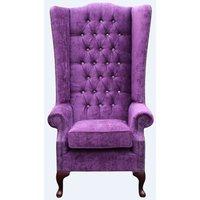 Chesterfield Soho Crystal Diamante Velvet High Back Wing Chair Velluto Amethyst Purple