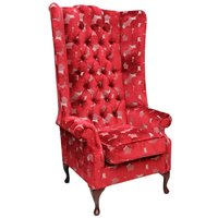 Designer Sofas 4 U - Chesterfield Soho Velvet High Back Wing Chair Pucci Calvados Red