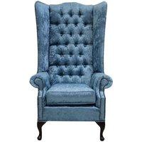 Chesterfield Soho Velvet High Back Wing Chair Shimmer Aqua Blue