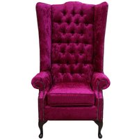 Designer Sofas 4 U - Chesterfield Soho Velvet High Back Wing Chair Shimmer Fuchsia Pink
