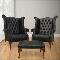 Chesterfield Special Offer High Back Wing Chair + Footstool | DesignerSofas4U