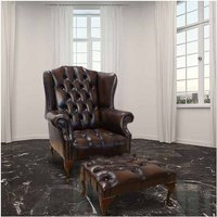 Chesterfield Stirling Buttoned Seat Flat Wing High Back