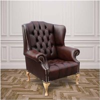 Designer Sofas 4 U - Chesterfield Stirling Buttoned Seat High Back Wing Chair Silver Studs UK Manufactured Antique Brown
