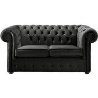 Chesterfield Velvet Fabric Sofa Malta Cosmic Black 2 Seater