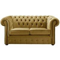 Chesterfield Velvet Fabric Sofa Malta Gold 2 Seater