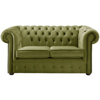Chesterfield Velvet Fabric Sofa Malta Grass Green 2 Seater