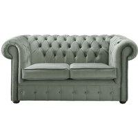 Chesterfield Velvet Fabric Sofa Malta Seaspray Blue 2 Seater