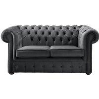 Chesterfield Velvet Fabric Sofa Malta Slate Grey 2 Seater