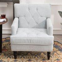 Chesterfield Velvet Linen Buttoned Armchair, Light Grey -