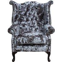 Chesterfield Velvet Queen Anne High Back Wing Chair Lustro Flint