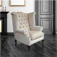 Designer Sofas 4 U - Chesterfield Velvet Queen Anne High Back Wing Chair Perla Shell