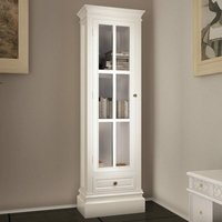 Chic Bookcase Cabinet with 3 Shelves White Wooden