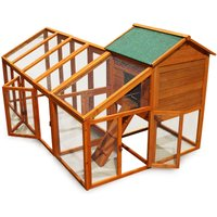 Chicken coop and run hen house poultry cage nest box rabbit hutch with flexible free run layout - WILTEC