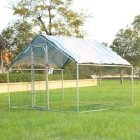 Chicken Run Rabbit Ducks Poultry Cage Iron Tube Coop With Gate, 3x2x2M - LIVINGANDHOME