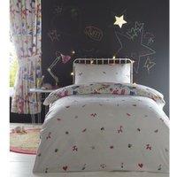 Childrens Single Duvet Cover Set Girls Bedding Bed Quilt Set Cartoon Sketch