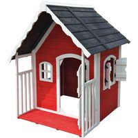 Childrens wooden playhouse kids garden play house with roofed veranda - WILTEC