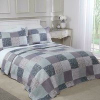 Chiltern Bedspread Plus Pillow Sham Set Quilted Patchwork, King Size
