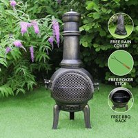 Chiminea Outdoor Patio Heater Garden Log Fire Pit Burner Wood Cast Iron Chimney Chimenea BBQ Frost Proof Spark Guard Rain Cover Poker Barbeque