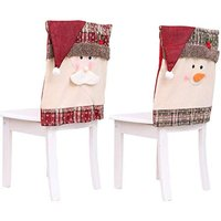 Bearsu - Christmas Chair Covers, 2Pcs Christmas Chair Back Cover Snowman Santa Claus Hat Slipcovers Set for Christmas Festive Dinner Table Chairs