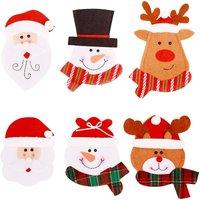 Bearsu - Christmas Cutlery Holder Kitchen Napkin, 6Pcs Knife Forks Spoon Tableware Bag, Snowman Santa Cutlery Holder Pocket for Table Decoration