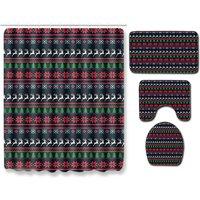 Christmas Decor Bathroom Set Waterproof Mat Rugs Carpets Set A055 Full Set 4PCS