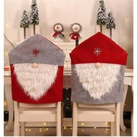 Bearsu - Christmas Decor Kitchen Chair Slip Covers, Red Chair Back Cover Santa Claus Slipcovers for Holiday Party Festival Kitchen Dining Room Chairs