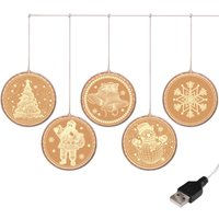 Christmas Decoration 3D Twinkle Hanging Lights Warm White USB Fairy String Lights Copper Wire Garden Lighting for Wedding Party Outdoor Patio