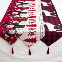 Christmas decorations-cotton linen-embroidered Christmas table runner-creative European-style Christmas coffee table-decorative