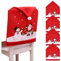 Bearsu - Christmas Dining Chair Covers, 4Pcs Christmas Chair Back Cover Snowman Santa Claus Hat Slipcovers Set for Christmas Festive Dinner Table