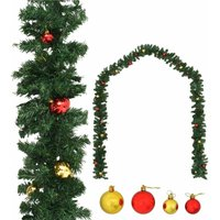 Christmas Garland Decorated with Baubles 20 m - Green