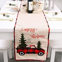 Bearsu - Christmas Holiday Table Runner, 70in x 14in Tabletop and Kitchen Burlap Holiday Party Embroidered Table Runner for Xmas Decoration (Christmas