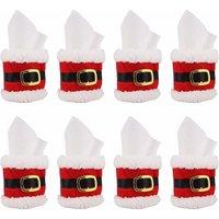 Christmas Napkin Rings 8 Pcs, Felt Napkin Holder Santa Belt Buckle Design Napkin Band Napkin Ring Christmas Dinner Cheer Party Table Decoration