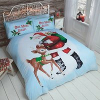 Christmas Santa Reindeer King Size Duvet Quilt Cover and 2 Pillowcases Bedding Bed Set Xmas - RAPPORT