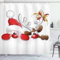 Perle Raregb - Christmas Shower Curtain, Funny Santa Reindeer, Fabric Bathroom Decor Set with Hooks, 200 * 180cm,