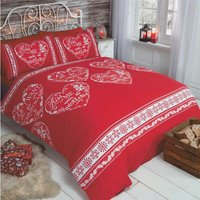 Christmas Slogans Single Duvet Quilt Cover and 1 Pillowcase Bedding Bed Set Hearts Red Xmas