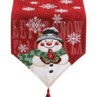Bearsu - Christmas Table Runner – Holiday Table Runners for Dining Room, Cardinal Snowflake Snowman Table Runner for Christmas Table Decorations