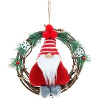 Christmas Wreath with Faceless Doll, Decorative Hanging Rattan Christmas Wreath for Living Room Door